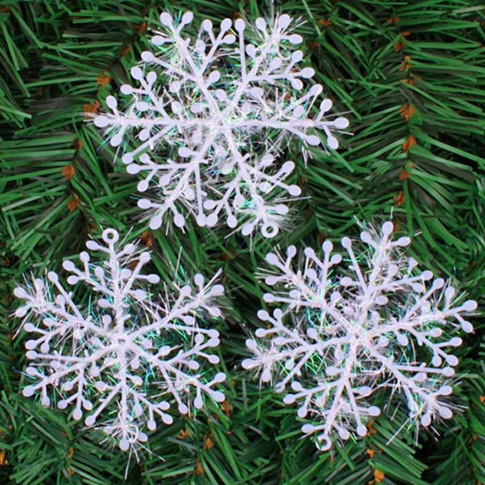 Snowflake christmas ornaments bulk - 15pcs Christmas Tree White Snowflake Charms Holiday Party Festival Ornaments Decor Bulk Snow Christmas Decorations For