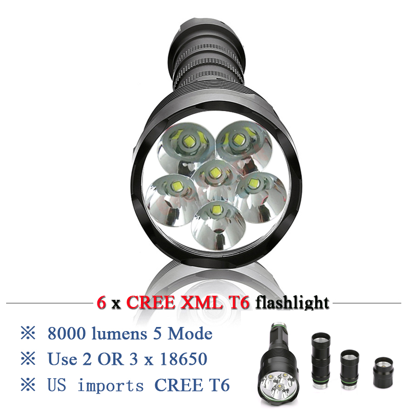 Powerful Flashlight 5000 lumen 10000 lumensRemovable led flashlight torch 6x CREE XML T6 3x 18650 Rechargeable Battery Portable