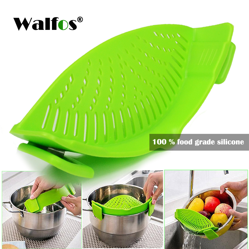 Walfos Food Grade Silicone Funnel Strainer Pot Pan Bowl