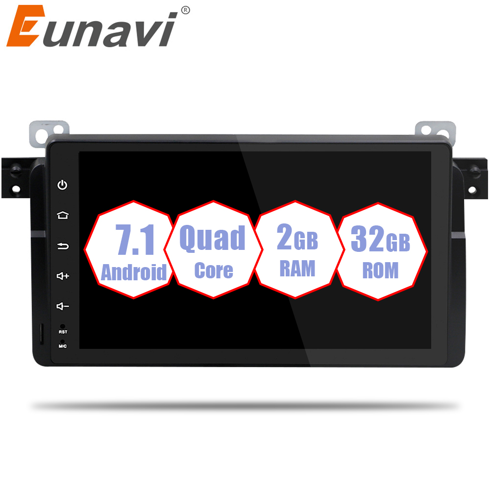 Eunavi 1 Din Android 7.1 8.1 9 Inch Quad Core Car Radio Stereo Gps For Bmw E46 M3 Rover 75 With Wifi 4g Canbus Bluetooth 2gb Ram seicane 8 core android 8 0 9 1din car radio gps navi for bmw 3 series e46 m3 316i 318i 320i 323i 325i with wifi bluetooth 32g