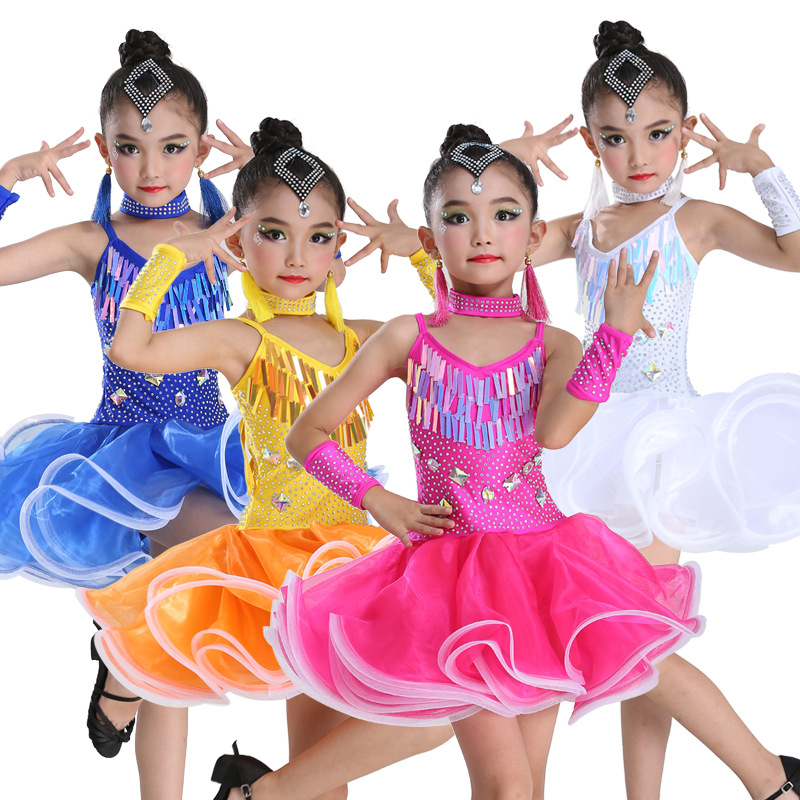 Girls Sequin Professional Latin Salsa Cha Cha Ballroom Dance Competition Dress Costume For Kid Dancing Clothes Dancer Clothing