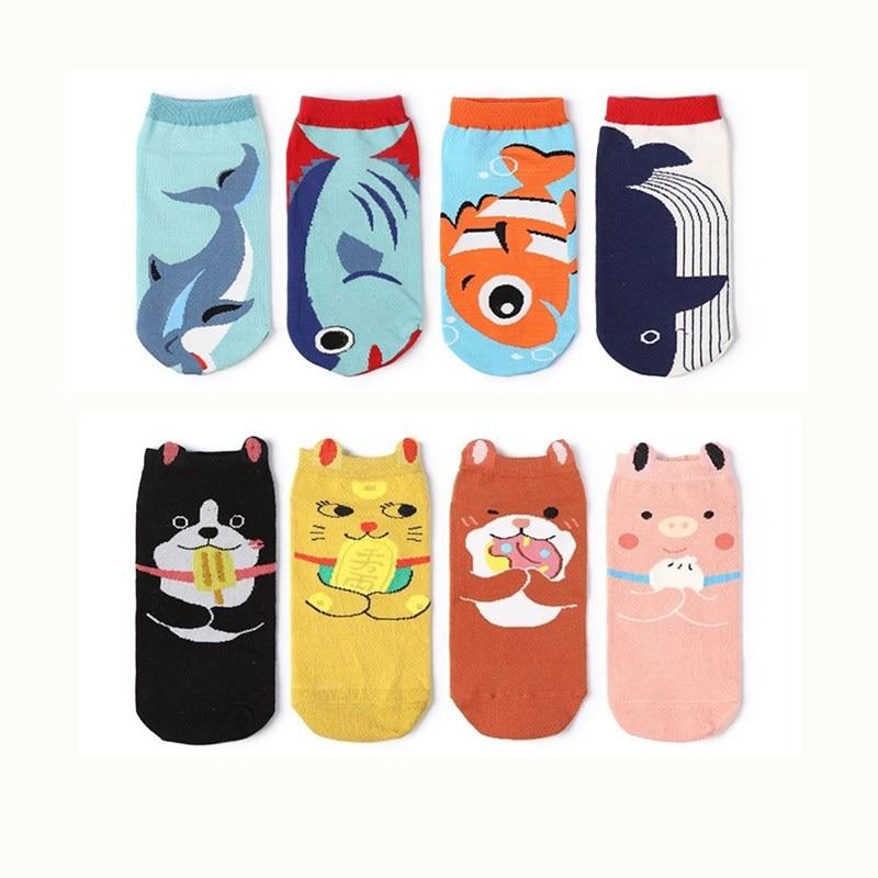 Ruimdenkende Japanse Harajuku Sokken Vrouwen 2018 Zomer 15 Kleuren No Show Lage Ankle Kawaii Leuke Cartoon Vis/kat Toevallige Korte Sok Hoog Gepolijst