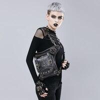 Black PU Leather With Rivet Gothic Steampunk Bag Women&Men Retro Rock Crossbody Handbag shoulder Waist Packs Corset Accessories