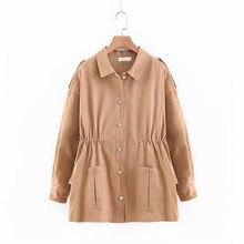 Кулиска на талии Женская Корейская куртка жемчуг Кнопка куртки пальто с  длинными рукавами с оборками хлопковая 3d5aaec10d4