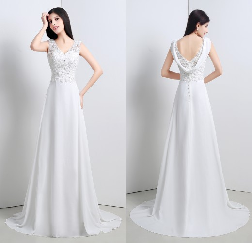 New Designed Elegant Hign Quality A-Line Wedding Dresses with Appliques V-Neck Cap Sleeve Sleeveless Wedding GownsC247