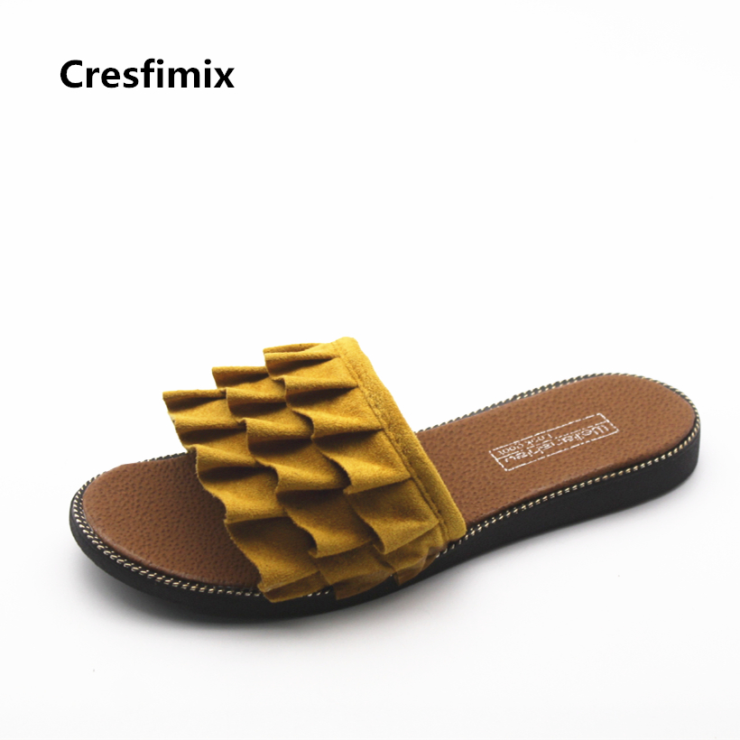Cresfimix spring & summer slip on flat slippers for women lady cute comfortable beach slippers mulheres chinelos casual slippers cresfimix women cute spring summer slip on flat shoes with pearl female casual street flats lady fashion pointed toe shoes