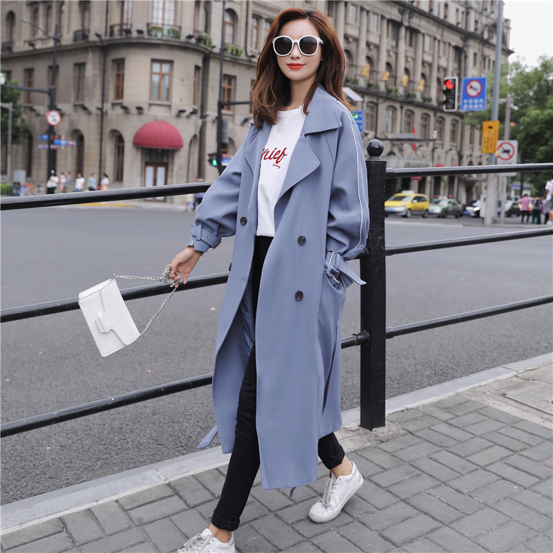 2018 Autumn New Khaki Women   Trench   Coat Long Windbreaker Fashion Trend Double-Breasted Loose Long   Trench   dust coat