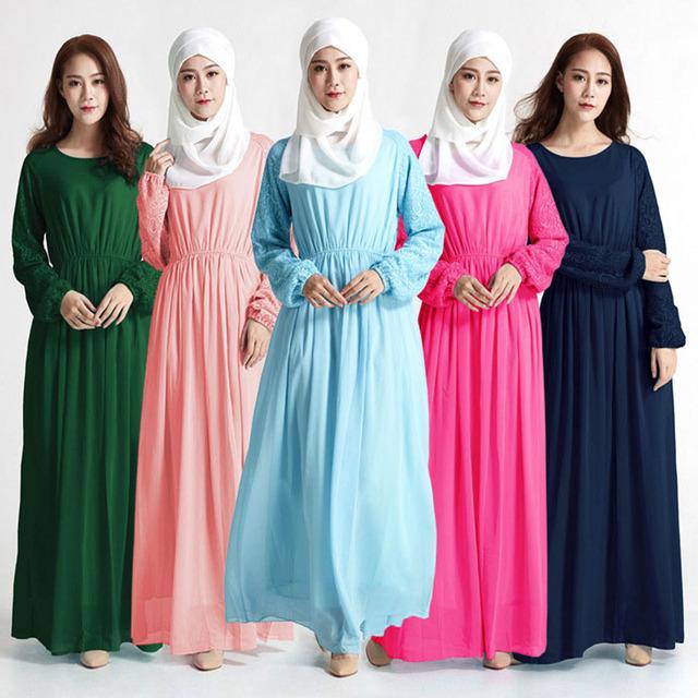 Malasia Musulmana Abaya turquía Islámica ropa Mujer de encaje de manga vestidos de fotos ropa jilbab turco burka femenino