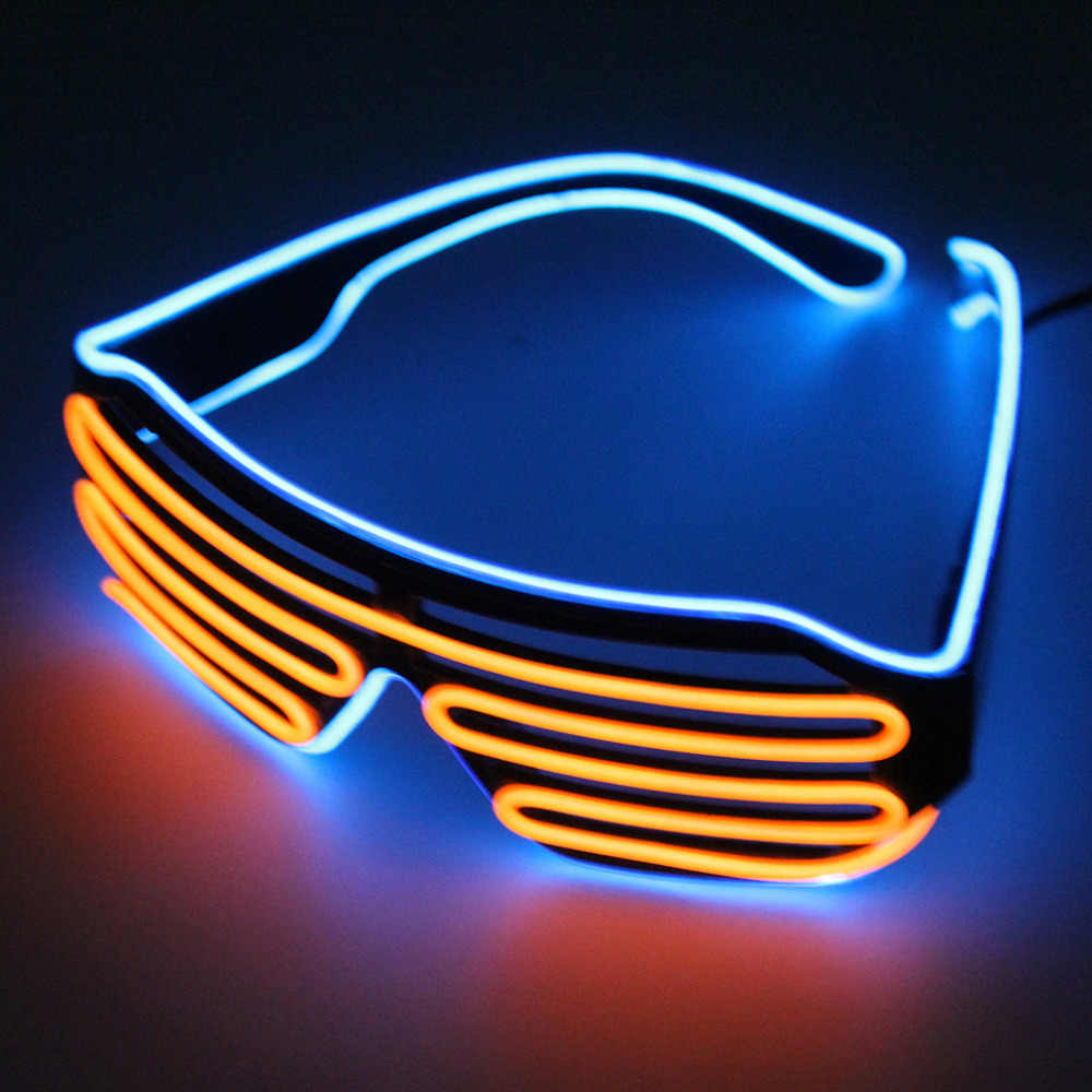Double Color Glow LED EL Glasses Wire Sunglasses Light Up Shades Flashing Rave Festival Party Bright Glasses