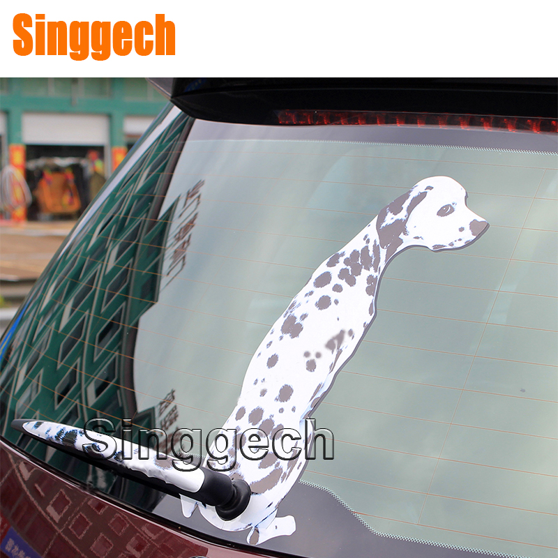 Car Styling Window Wiper Cartoon Dalmatian dog Sticker For Jeep Renegade Wrangler JK Grand Cherokee Compass For Fiat 500 Punto car seat covers for jeep grand cherokee compass commander renegade wrangler peugeot 4007 4008 405 406 407 4085008 508 607 807