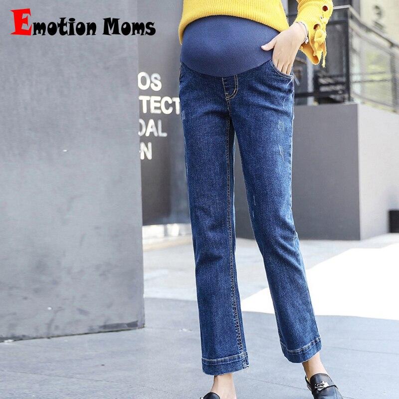 Emoção Mães Elástico Na Cintura Solta Calças de gravidez Para As Mulheres Grávidas Maternidade Jeans Fino Maternidade calças Outono Inverno