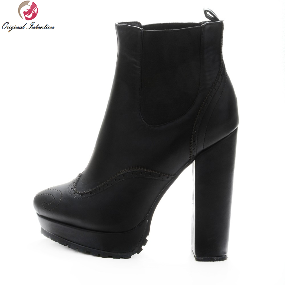 Фото Original Intention Elegant Women Ankle Boots Platfrom Sexy Round Toe Square Heels Boots Fashion Shoes Woman Plus Size 4-15
