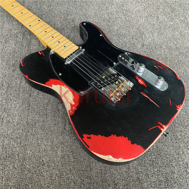Avril Lavigne is an old electric guitar, retro relic guitar, precision crafted, birthday present. Free shipping. 3