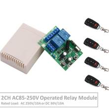 2Channel 433 MHz RF Wireless Remote Control AC 220V 10A Relay Receiver For Universal LED/Garage/Door/Motor/Electric Curtain