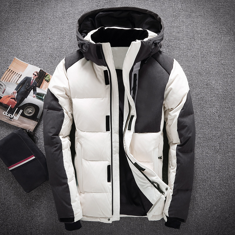 Down     coat   male short design winter men's   down   jacket thermal thickening white duck   down     coat   slim   down   jacket White Blue Black