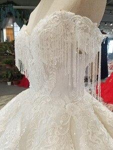 Image 5 - Ls14440 plus size marfim vestido de casamento com contas querida atacado beleza véu vestido de noiva simples curvo civil
