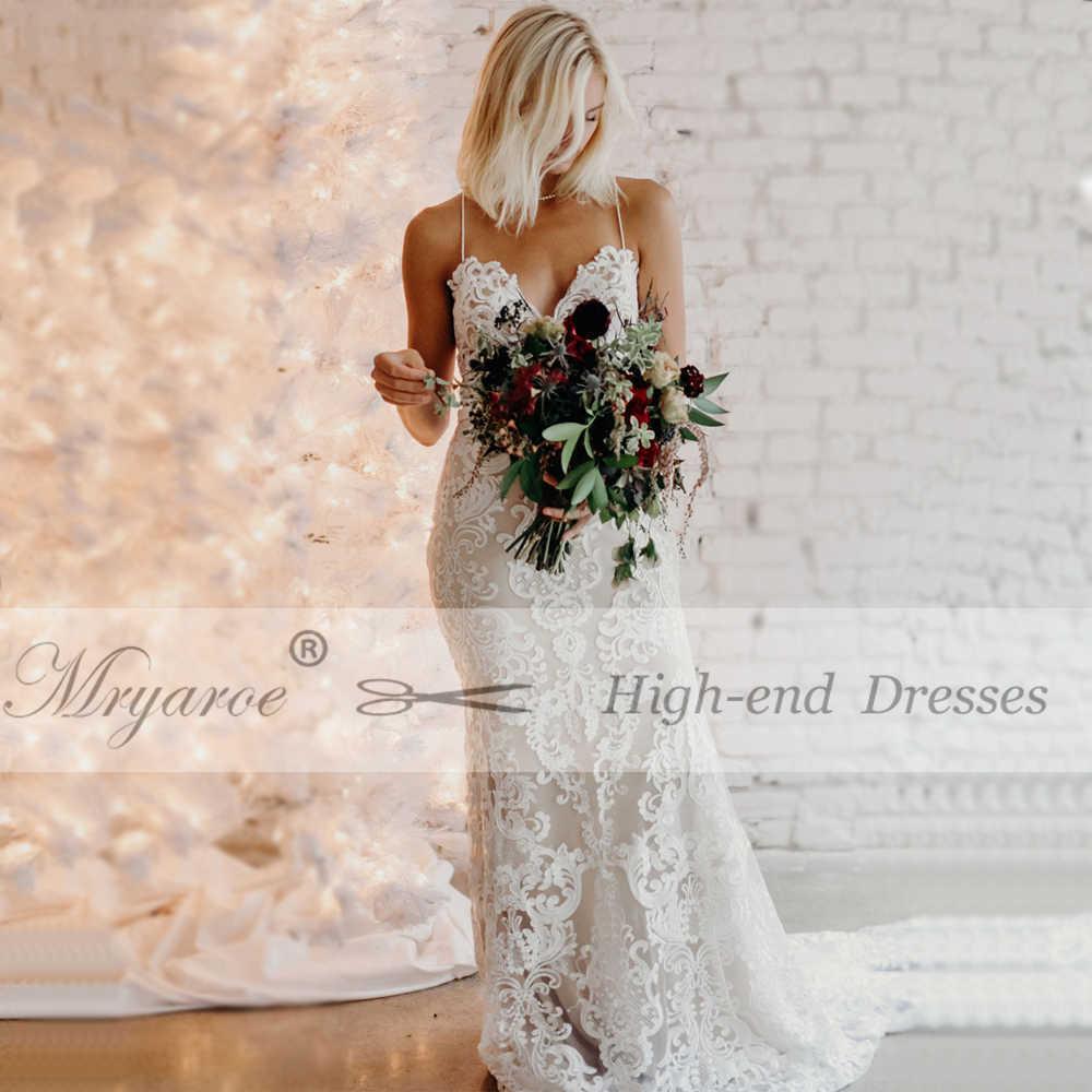 ... Mryarce 2019 Luxury Exquisite Lace Mermaid Wedding Dress Spaghetti  Straps Open Back Bridal Gowns b8496b120648