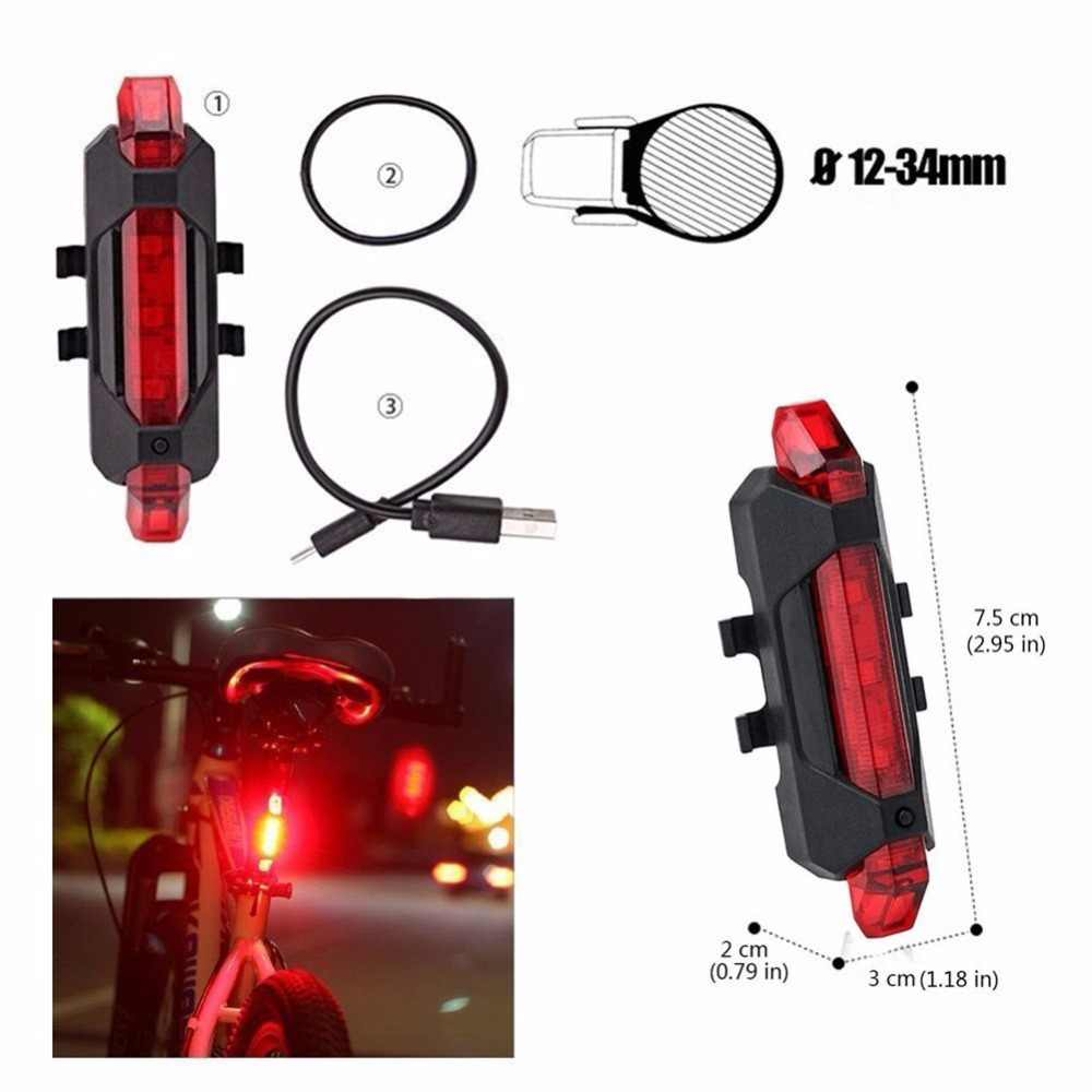 c9e19b55a8b ... SHENKEY USB Rechargeable Bicycle Light Front And Tail Set 5 LEDs 4  Modes Head Back Bike ...