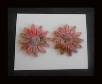 Carved Pink Opal Flower Cabochon Pair 43x5mm 20 4g