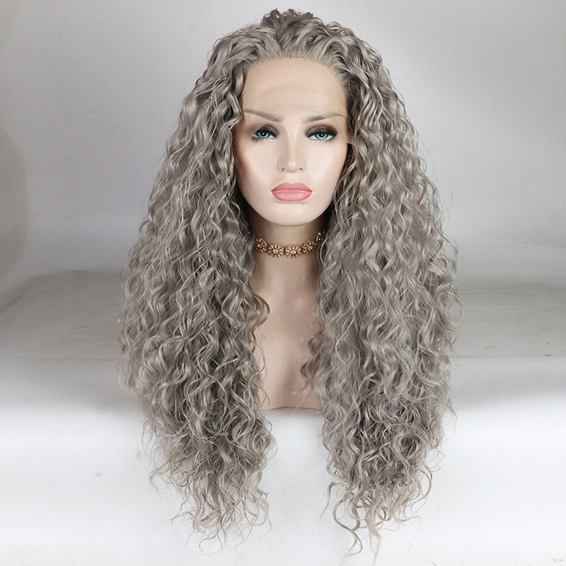 Fantasy Beauty Curly Lace Front Wig for Women Long Silver Grey Water Wave Synthetic Wigs Half Hand Half Tied Hair Wig