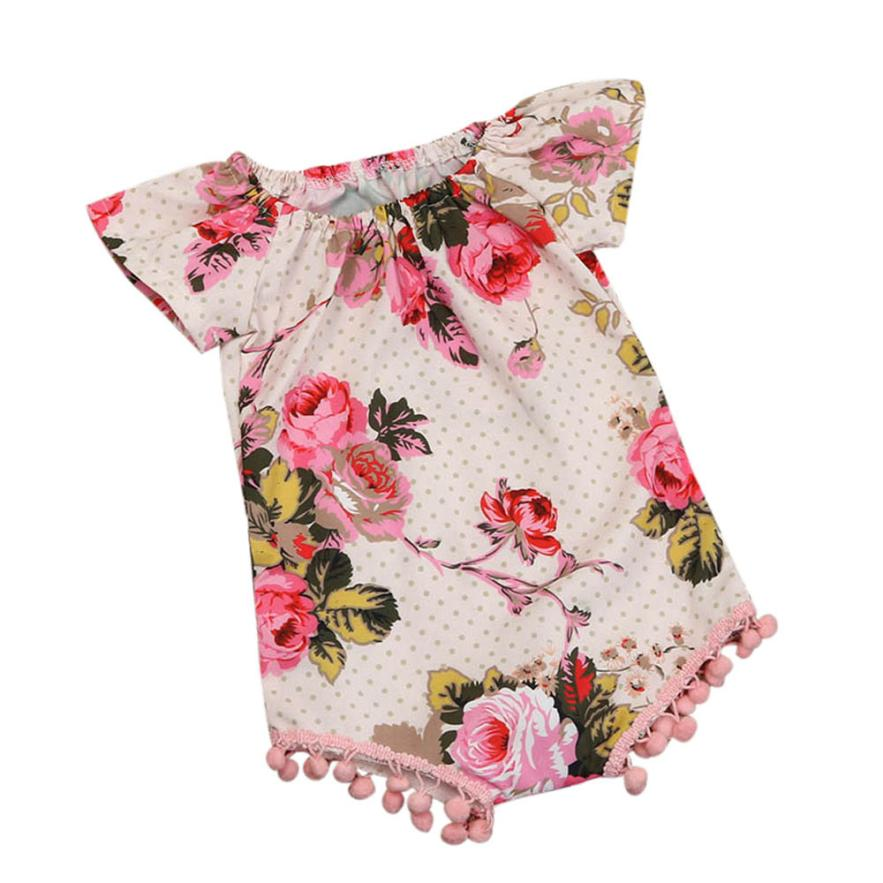 ARLONEET Baby Clothes Newborn Infant Baby Girl Floral Short Sleeve Romper Jumpsuit Outfits Clothes Dropshipping Mar15