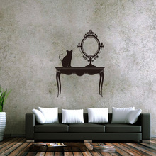 Hotselling decoración del hogar gato negro de la vendimia espejo etiqueta de la pared papel pintado impermeable