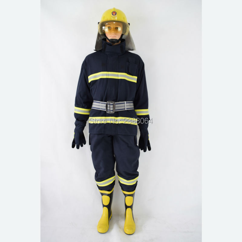 8522a9cc6246 Aramid 4 layer fireproof navy blue fireman rescue anti fire suit ...