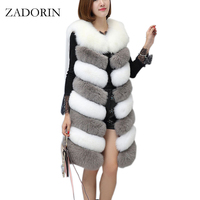 ZADORIN 2017 New Arrival Colored Long Faux Fur Vest Women Faux Fur Sleeveless Jacket Fake Fur