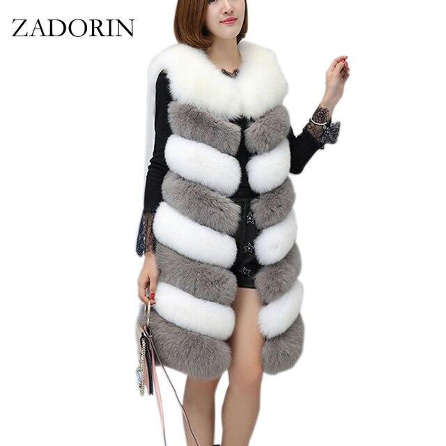 9c20218ba7f ZADORIN 2019 New Arrival Colored Long Faux Fur Vest Women Faux Fur  Sleeveless Jacket Fake Fur Coats Fur Gilet fourrure Plus Size