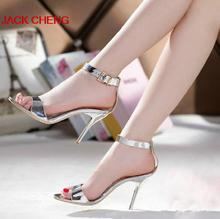 Sexy Silver Stiletto Heels Genuine Leather Bridal Wedding Dress Shoes Summer Dress Sandals  Bridesmaid Prom High Heels pumps