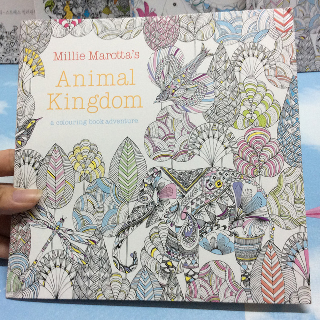 24 Pages Animal Kingdom English Edition Antistress Coloring Book For Children Adults Graffiti Painting Drawing Art