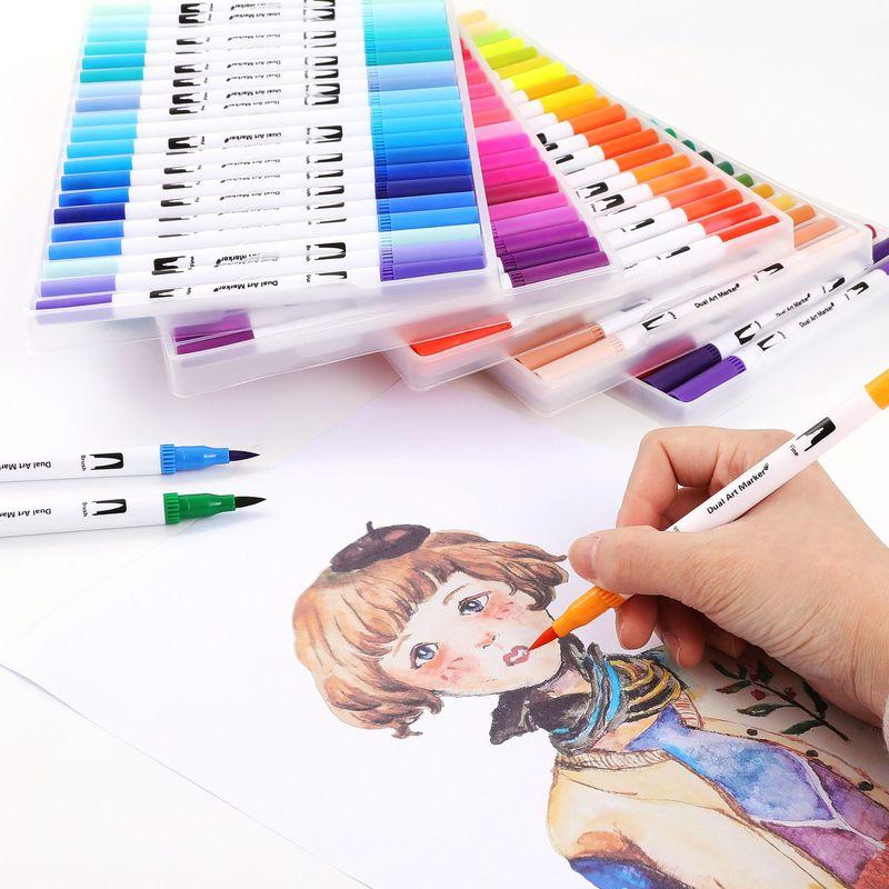 Double conseils 100 couleurs Fine pinceau marqueur à base d'encre aquarelle pinceau croquis Art marqueur stylo pour Manga dessin fournitures scolaires