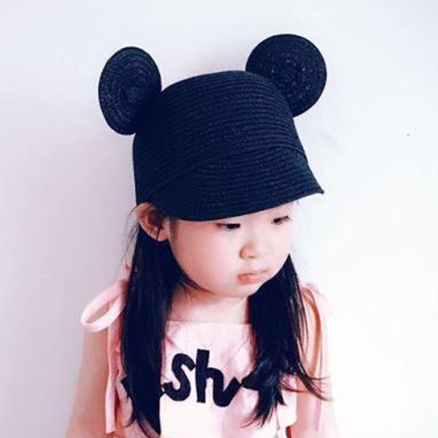 0b4eddebe8f Children Mickey Big Ears Sun hat straw hat baby Boys Girls Beach Summer Hat  Baseball cap Drop Shipping