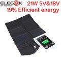 ELEGEEK 21 W 5 V & 18 V Dobrável Solar Pacote Carregador Portátil carregador de painel solar para ipad iphone samsung laptop 5 v 18 v dispositivo