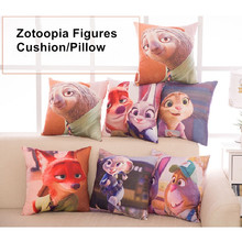 Free Shipping 38*38cm Zootopia Fox Nick Rabbit Judy Soft Cushion Pillow Stuffed Toys Bed Room Decoration Dolls For Girls Kids