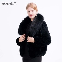 MS.MinShu Women Real Fur Coat Fox Fur Collar Rex Rabbit Fur Coat Full sleeves Lady's Real Fur Jacket Women Winter Coat