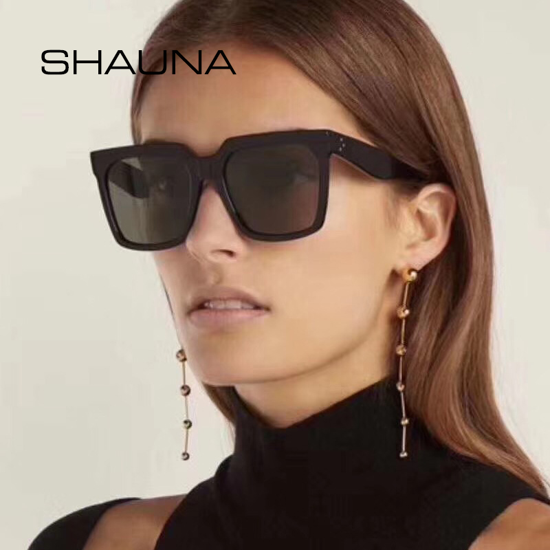 SHAUNA Oversize Square Sunglasses Women Fashion Nail Decoration Gradient Sun Glasses Men