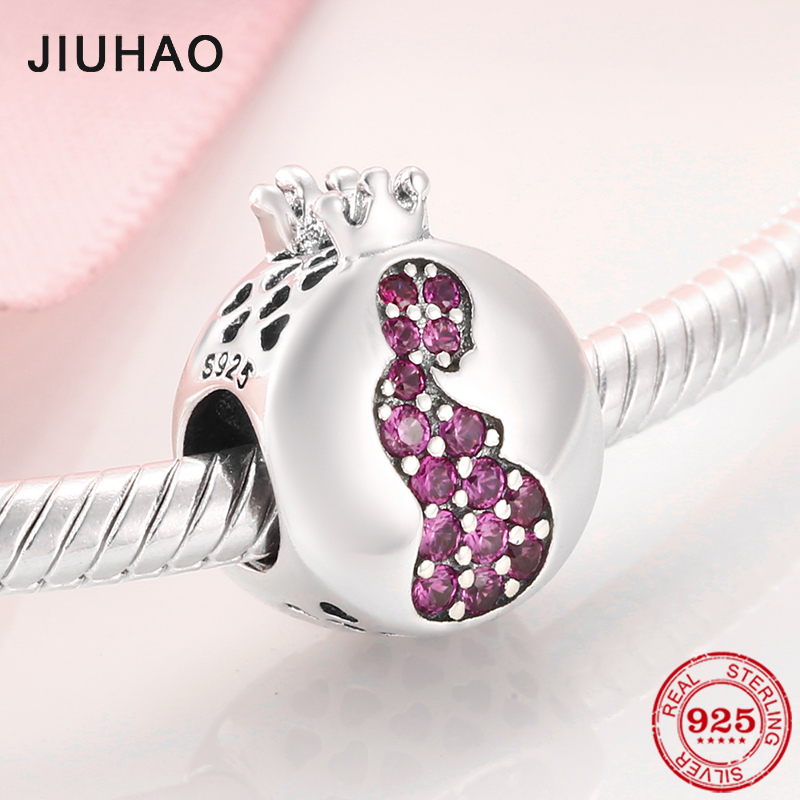 Give Birth To Life Pregnant Mother 925 Sterling Silver Charm Pink CZ Beads Jewelry Making Fit Original Pandora Charms Bracelets