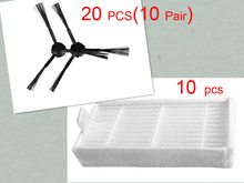 30 pcs/lot 20 side brush(10 pair) &10 HEPA filters for ecovacs CR120 X500 X600 panda X500 filter Promaster Robot 2712