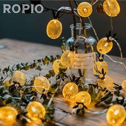 ROPIO 1.5 m 3 m LEVOU Lanternas Em Forma de Abacaxi Ferro Fada Luz Cordas 10/20 LEDs Luzes Da Corda Para O Casamento LEVOU Decoracion