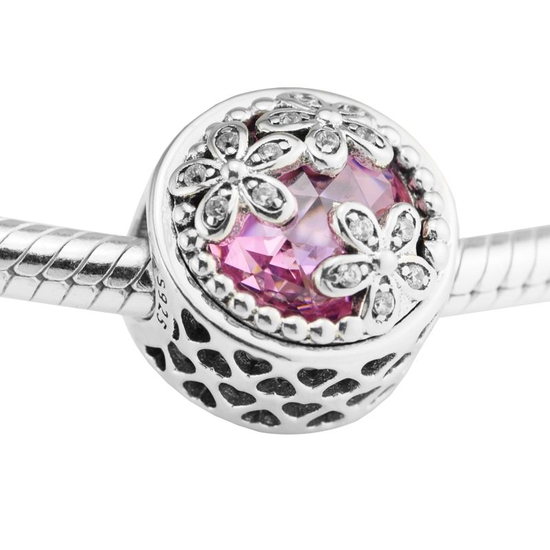 Dazzling Daisy Meadow, Blue & Clear CZ 925 Sterling Silver Charms Fit Pandora & Other European Charm Bracelets