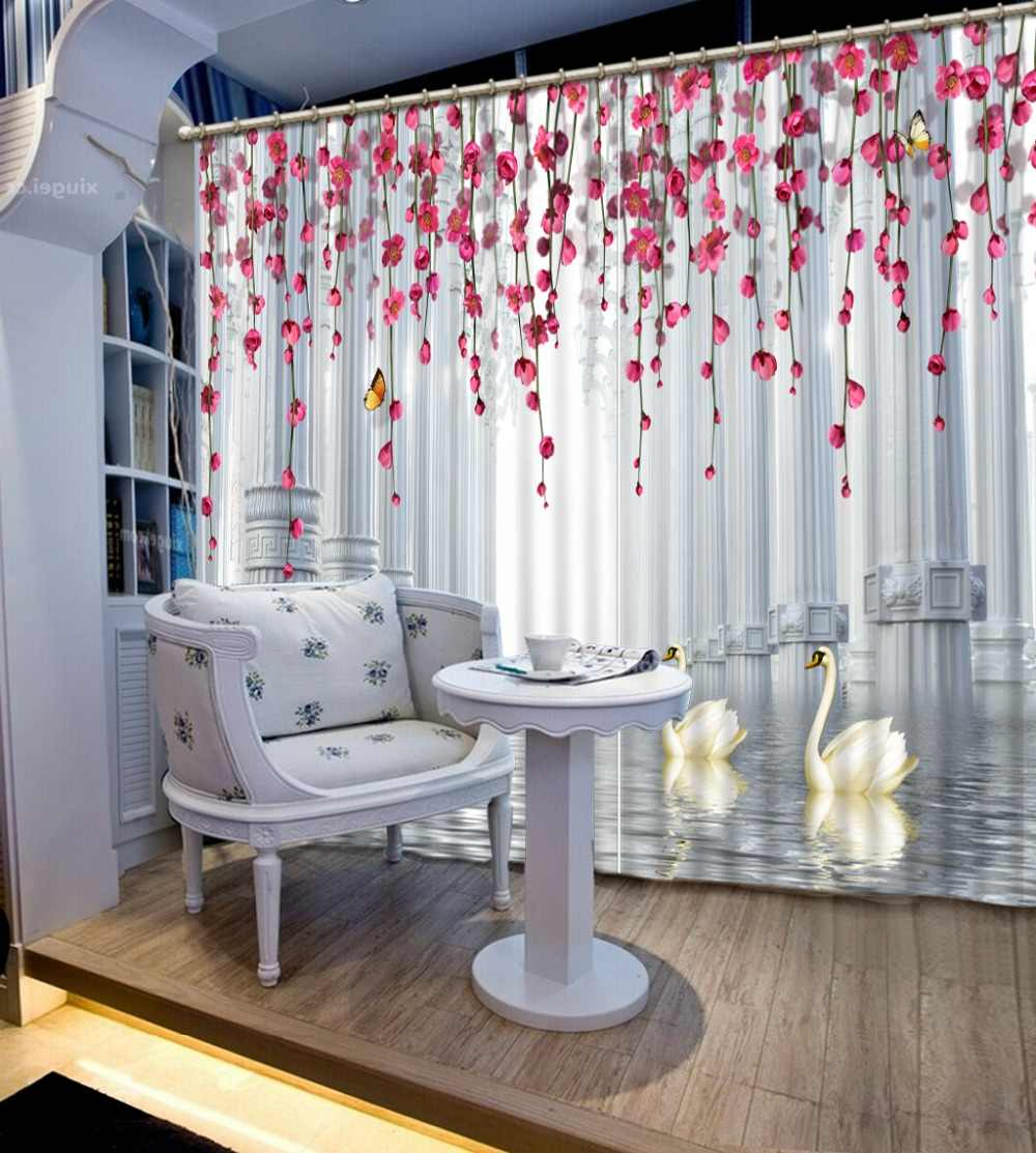 Dream room Curtains European Roman Curtains For Living room white and red 3D Window Curtain Blackout Polyester Drapes