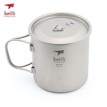 Keith Titanium Cup Folding Handles Single Wall Water Mug Camping Travel Hiking Drinkware With Titanium Lids 650ml Ti3208