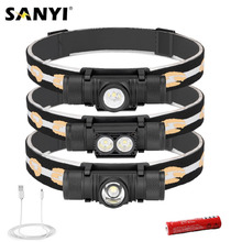 Sanyi-Mini linterna Frontal LED D25 XM-L2 para acampada y caza, linterna Frontal con carga USB, 6 modos, 18650