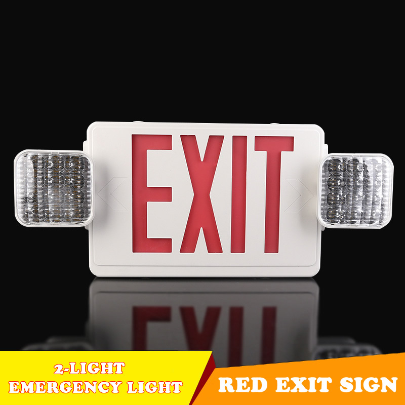 New <font><b>Emergency</b></font> Lamp 2-<font><b>Light</b></font> Red Exit Sign Direction Arrow Fire <font><b>Emergency</b></font> Spare <font><b>Light</b></font> 110v/<font><b>220v</b></font> For Home Office Apartment Mall image