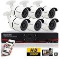 SUNCHAN 1080 P Full HD AHD 8CH DVR 6 unids 3000TVL 2.0MP Cámara de Seguridad de Bala 36 unids IR LED Al Aire Libre Sistema de Vigilancia doméstica