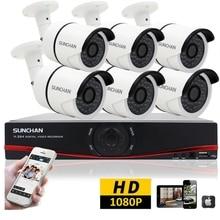SUNCHAN 1080 P Full HD AHD 8-КАНАЛЬНЫЙ ВИДЕОРЕГИСТРАТОР 6 шт. 3000TVL 2.0MP Пуля Камеры Безопасности 36 шт. ИК-ПОДСВЕТКОЙ Открытый главная Системы Видеонаблюдения