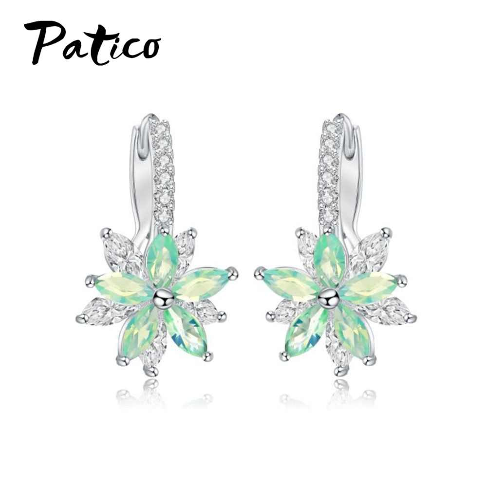 Europe Boucle Foreille Femme Romantic Stud Earrings Flower Cubic Zirconia For Women Party Girls Birthday Earings Jewelry