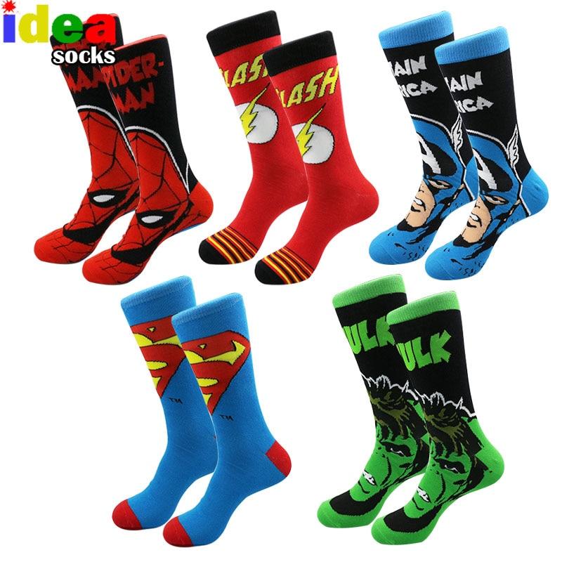 Men Women Cotton Cartoon Jacquard Colorful Dress Socks Male Embroider Anime Hero Skateboard Socks Big Size meias masculinas