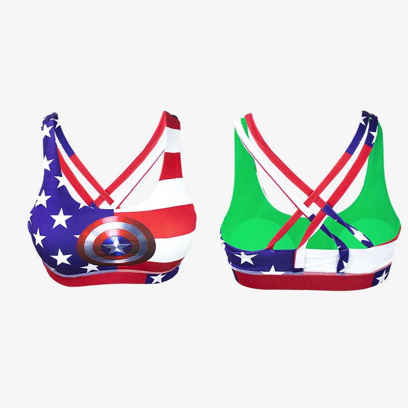 Женский топ для фитнеса с принтом «Капитан Америка», «супер герой», укороченный топ, жилет, бюстгальтер для йоги, спортивный бюстгальтер без рукавов, спортивный бюстгальтер